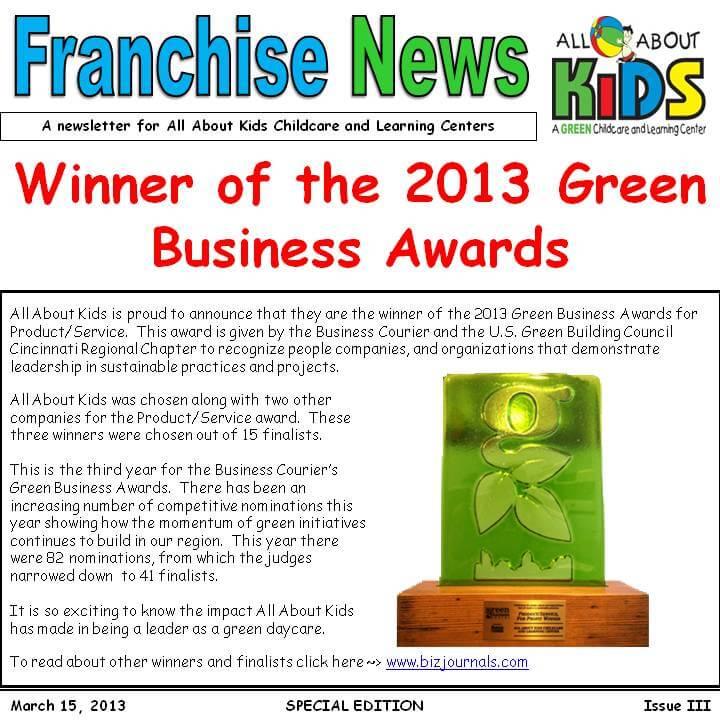 Winner of the 2013 Green Business Awards